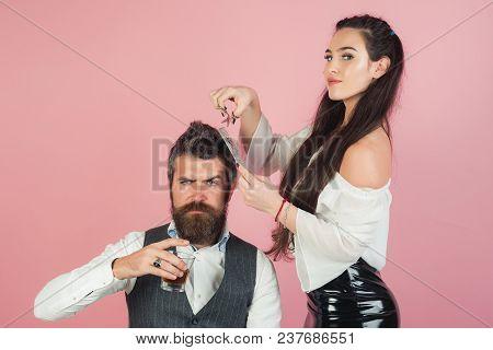 Girl With Razor, Comb Cut Hair Of Man. Girl Cut Beard Hair With Razor And Comb