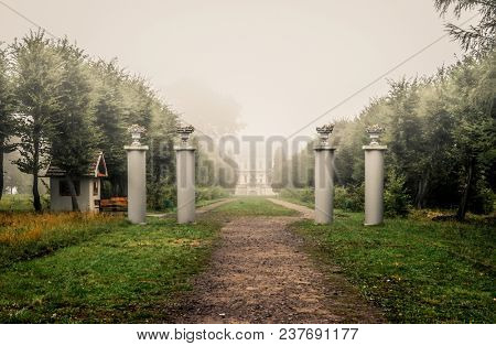 Columns in front of Pidhirtsi castle near Lviv at foggy morning. Pathway to the ancient castle with four white columns with flower pots and trees around