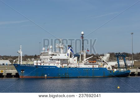 New Bedford, Massachusetts, Usa - April 24, 2018: Research Vessel Ocean Researcher Docked At Planned