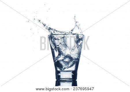 Mineral Water With Splash And Ice.