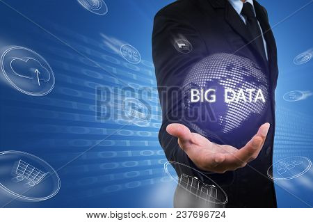 Asian Businessman Hold Virtual Digital Globe Of Data Flow From Bi,big Data Technology.professional S