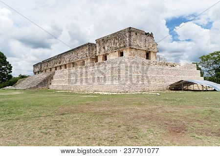 Ruins Of The Nunnery Quadrangle, The Ancient Archerological Site Of Mayan Culture In Uxmal, Yucatan,