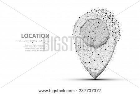 Pin. Low Poly Wireframe Mesh Isolated On White With Dots And Crumbled Edge. Location, Gps, Marker Sy