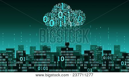 Abstract Futuristic Smart City With The Internet Of Things And Artificial Intelligence, Connected To