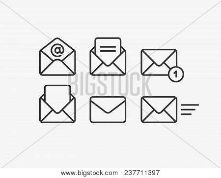 Mail Vector Icon Set. Email, Post, Letter, Envelope, Newsletter Collecton Isolated On White. Line Ou