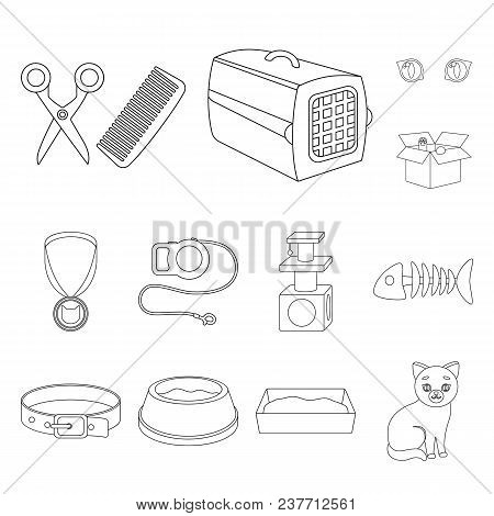 An Animal Cat Outline Icons In Set Collection For Design. Caring For A Cat Vector Symbol Stock  Illu