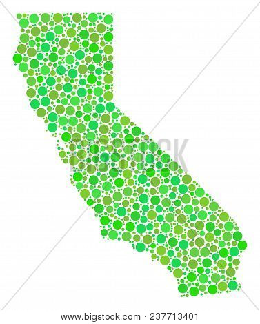 California Map Collage Of Random Filled Circles In Different Sizes And Fresh Green Color Tints. Vect
