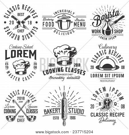 Set Of Cooking Emblem On White Background. Vector Illustration.