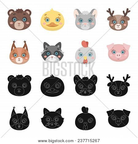 Protein, Raccoon, Chicken, Pig. Animal Muzzle Set Collection Icons In Black, Cartoon Style Vector Sy