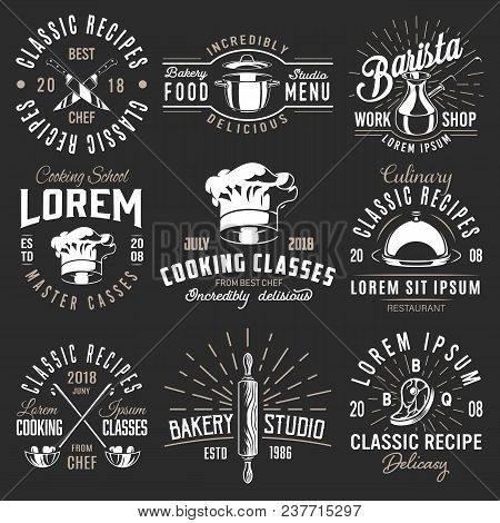 Set Of Cooking Emblem On Black Background. Vector Illustration.