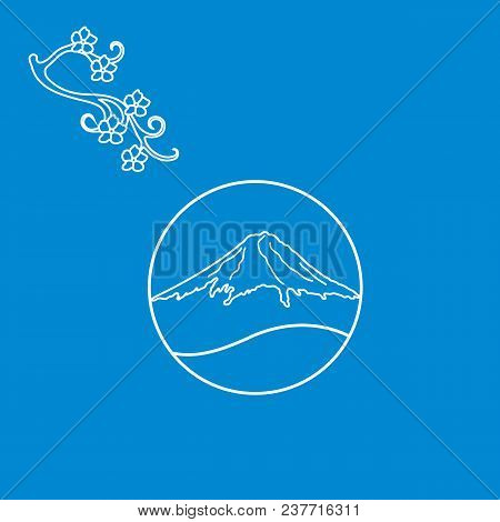 Cute Illustration Of Branch Of Cherry Blossoms And Mount Fuji. Set Of Japan Traditional Design Eleme