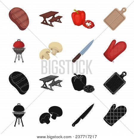 Barbeque Grill, Champignons, Knife, Barbecue Mitten.bbq Set Collection Icons In Black, Cartoon Style