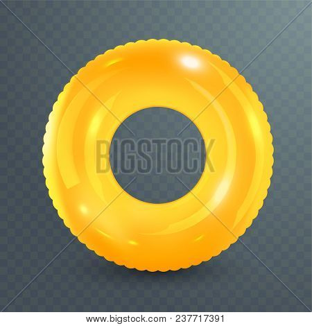 Swim Ring. Inflatable Rubber Toy On Transparent Background. Realistic Summertime Illustration. Summe