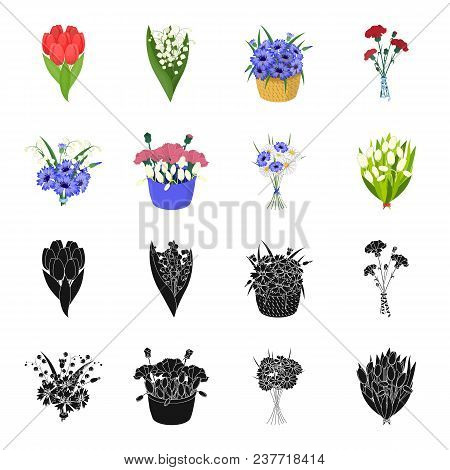 A Bouquet Of Fresh Flowers Black, Cartoon Icons In Set Collection For Design. Various Bouquets Vecto