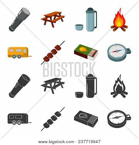 Trailer, Shish Kebab, Matches, Compass. Camping Set Collection Icons In Black, Cartoon Style Vector
