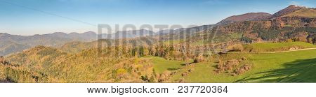 French Landscape - Vosges. Panoramic View Of The Grand Ballon. Highest Mountain Of The Vosges.