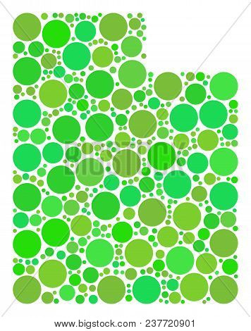Utah State Map Composition Of Random Filled Circles In Various Sizes And Eco Green Color Hues. Vecto