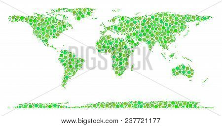 World Continent Map Collage Of Scattered Dots In Various Sizes And Green Color Tints. Vector Spheric