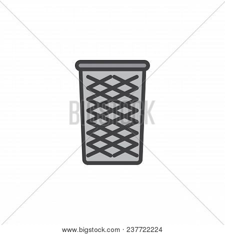 Wastepaper Basket Filled Outline Icon, Line Vector Sign, Linear Bicolor Pictogram Isolated On White.