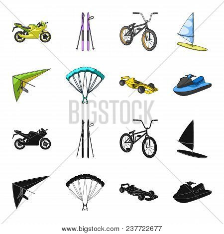 Hang Glider, Parachute, Racing Car, Water Scooter.extreme Sport Set Collection Icons In Black, Carto