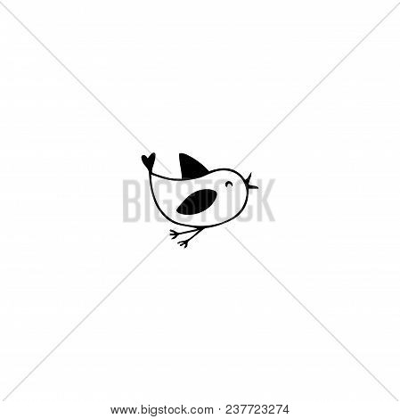 Vector Hand Drawn Objects, Little Bird. Feminine Logo Element, Romantic Wedding Clipart. For Busines