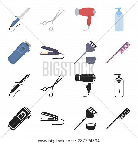 Trim, Hair Coloring, Comb, Straightener. Hairdresser Set Collection Icons In Black, Cartoon Style Ve