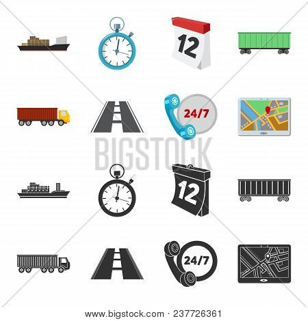 Round The Clock, Road, Truck, Jps.loqistic, Set Collection Icons In Black, Cartoon Style Vector Symb