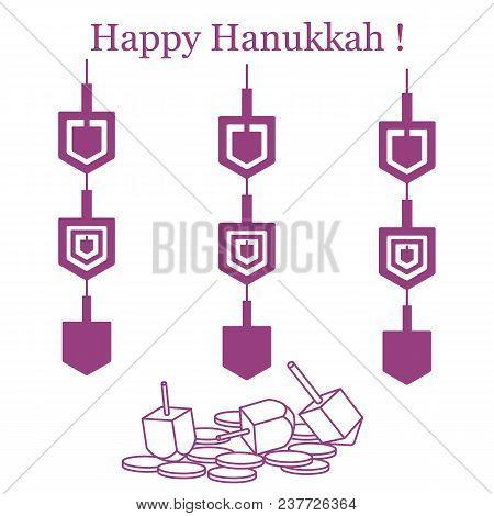 Jewish Holiday Hanukkah: Dreidel, Sivivon, Coins And Paper Garland. Design For Postcard, Banner, Pos