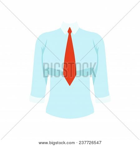 White Shirt With Red Tie, Womens Business Clothing Vector Illustration Isolated On A White Backgroun