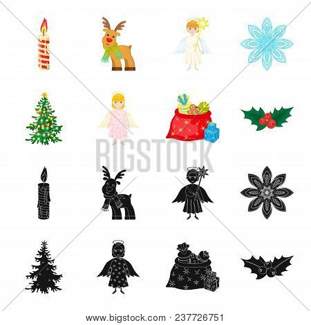 Christmas Tree, Angel, Gifts And Holly Black, Cartoon Icons In Set Collection For Design. Christmas