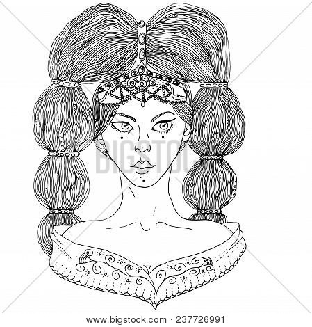Raster Uncolored Girl In Ethnic Costume With Cute Hair Style.
