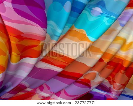 Beautiful Colorful Satin For Drapery Abstract Background. Color Silk Fabric. 3d Rendering.