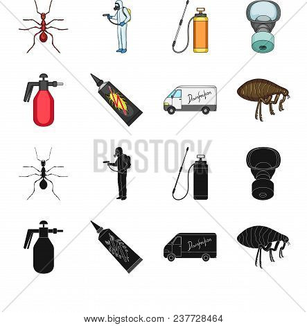 Flea, Special Car And Equipment Black, Cartoon Icons In Set Collection For Design. Pest Control Serv