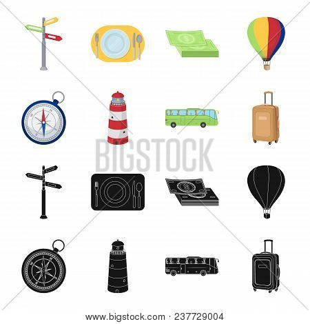 Vacation, Travel, Lighthouse, Compass .rest And Travel Set Collection Icons In Black, Cartoon Style