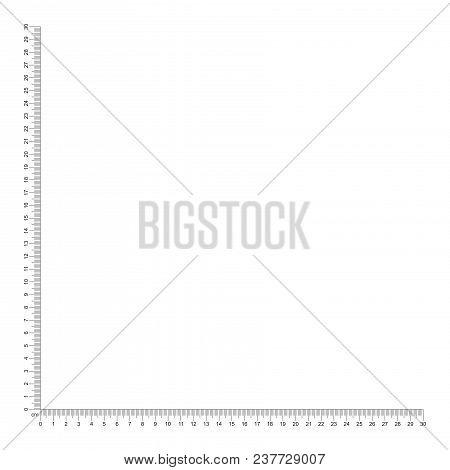Corner Ruler 30 Cm. Ruler Angle 30 Cm. Measuring Tool. Ruler Grid 30 Cm. Centimeter Size Indicators.