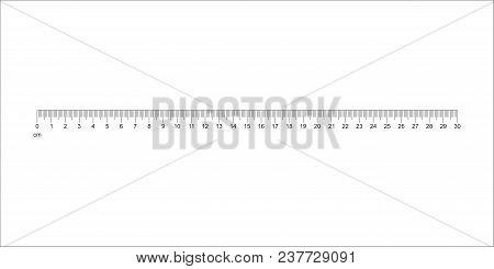 Ruler 30 Cm. Measuring Tool. Ruler Graduation. Ruler Grid 30 Cm. Size Indicator Units. Metric Centim