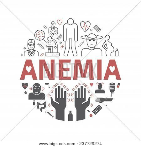 Symptoms Of Anemia. Iron Deficiency. Diagnosis And Treatment Of Anemia. Icons Set.