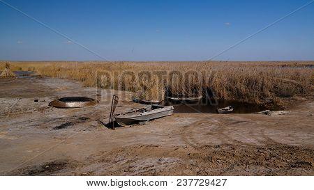 Runed Urga Fishing Village At The Shore Of Sudochye Lake Aka Part Of Former Aral Sea At Karakalpakst
