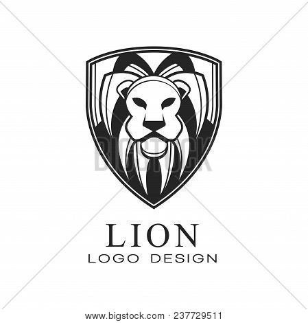 Lion Logo Design, Classic Vintage Style Element With Wild Animal , Vector Illustration Isolated On A