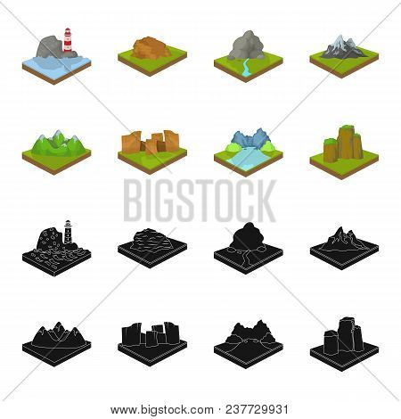 Mountains, Rocks And Landscape. Relief And Mountains Set Collection Icons In Black, Cartoon Style Is