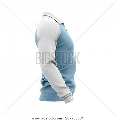 Men's zip neck pullover with raglan sleeves, rubber cuffs and collar. 3d rendering. Clipping paths included: whole object, collar, sleeve, zipper. Side view.