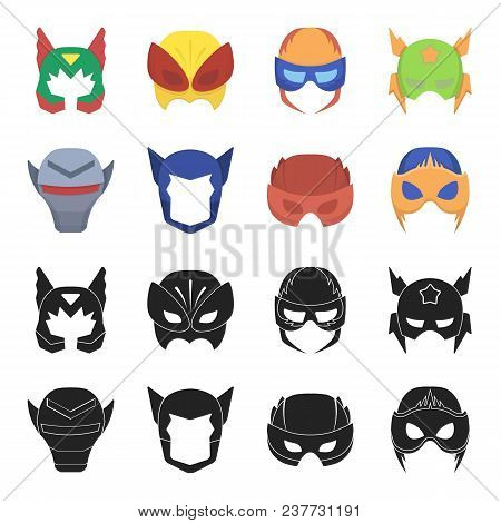 Helmet, Mask On The Head.mask Super Hero Set Collection Icons In Black, Cartoon Style Vector Symbol