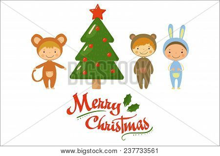 Cartoon Kids Characters In Carnival Costumes Standing Near Green Holiday Tree. Merry Christmas Theme