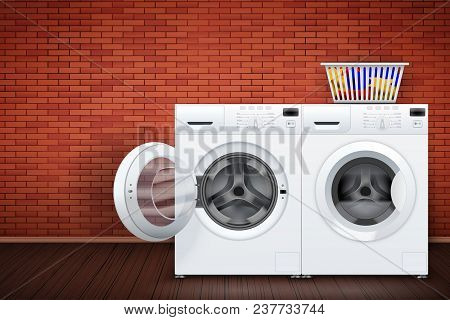 Laundry Room Interior With Two Washing Machines On Red Brick Wall Background. The Concept Of Modern