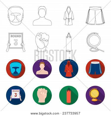 Boxing, Sport, Round, Hand. Boxing Set Collection Icons In Outline, Flat Style Vector Symbol Stock I