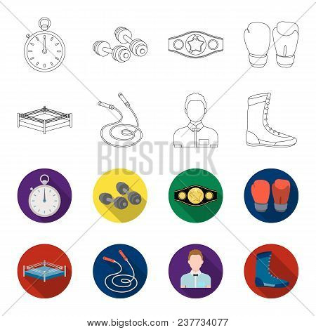 Ring, Rope, Referee, Sneakers Boxing Set Collection Icons In Outline, Flet Style Vector Symbol Stock