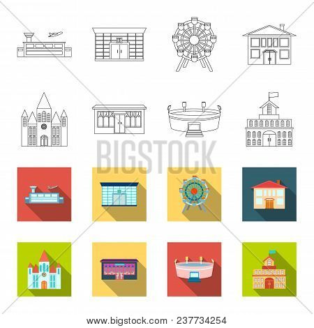 House Of Government, Stadium, Cafe, Church.building Set Collection Icons In Outline, Flat Style Vect