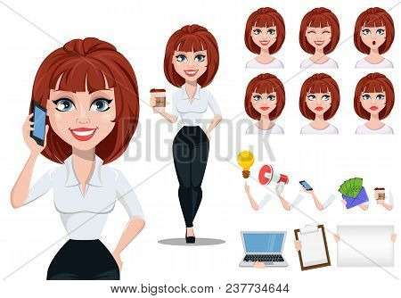 Business Woman In Office Style Clothes With Brown Hair. Cheerful Businesswoman Cartoon Character Cre