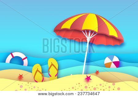 Red Yellow Parasol - Umbrella In Paper Cut Style. Origami Sea And Beach With Lifebuoy. Sport Ball Ga