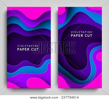 Vertical Banners Paper Cut. Paper Art In Violet And Blue Colors. 3d Abstract Background With Paper C